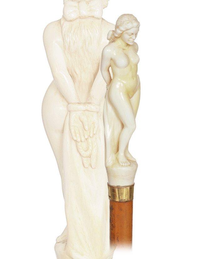 3. Ivory Nude Cane-Ca. 1900Very large ivory handle