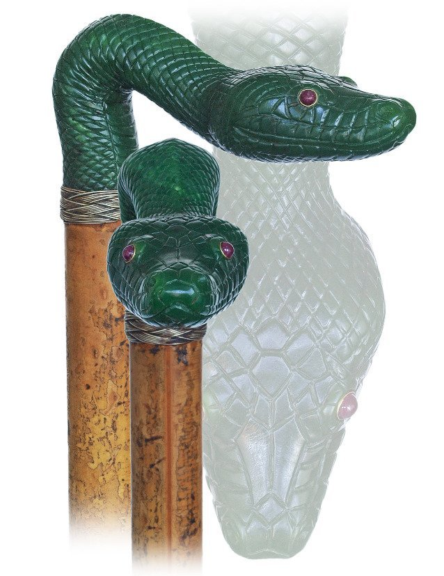 4. Nephrite Figural Cane-Ca. 1900-Large spinach green