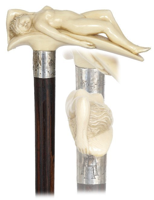 11. Magnificent Ivory Nude Cane-Ca. 1900-Ivory