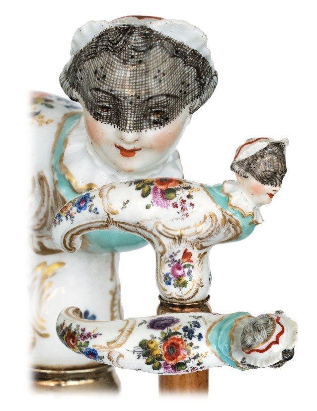 12. Porcelain Indoor Dress Cane-Ca. 1850-The slightly