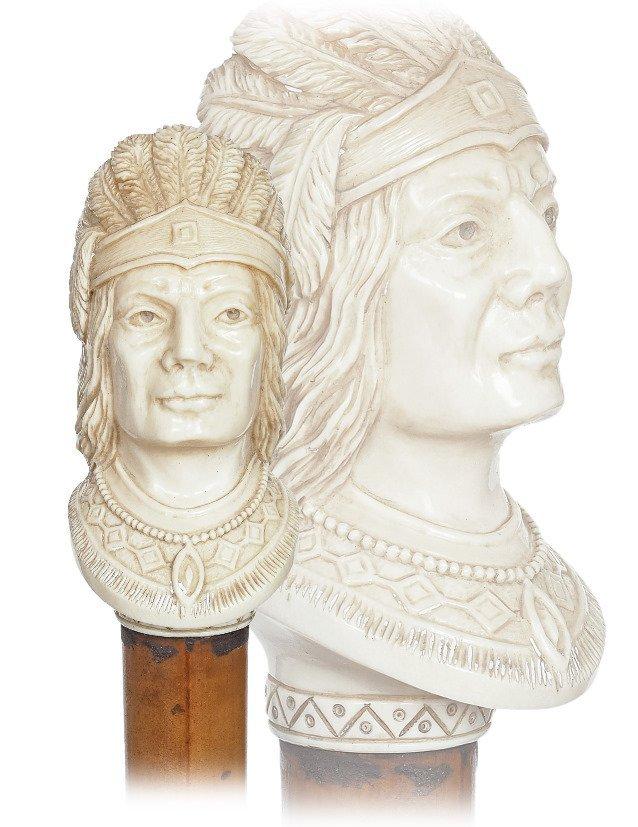 23. Ivory Native American Indian Cane-Ca.