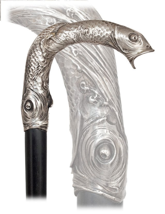 24. Silver Art Nouveau Cane-1908-Large and heavy silver