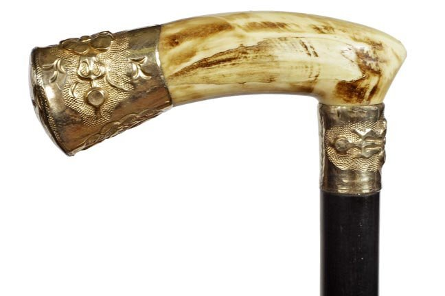 20. Ivory Dress Cane- Ca. 1900-A stained ivory handle