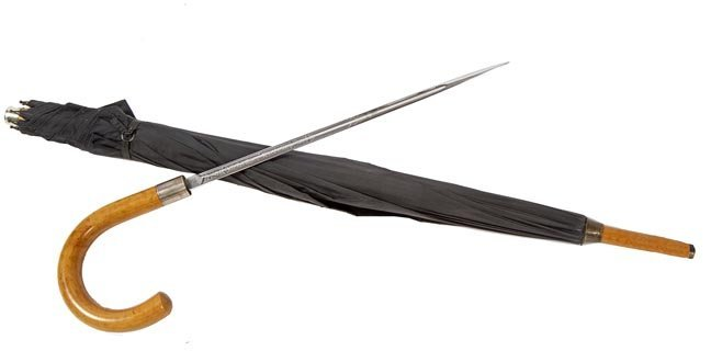 135. Umbrella Sword Cane-Ca. 1930-An unusual malacca