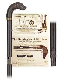 91. Remington Gun Cane-Late 19th Century-A gutta percha