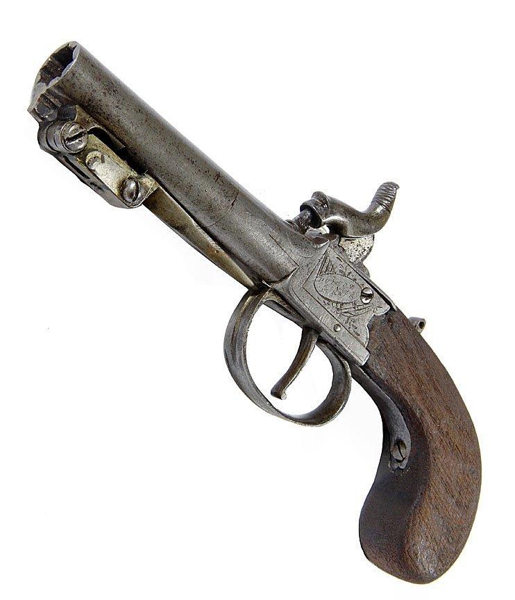 "Knife Pistol-Hutton- 4"" barrel, 4"" knife, walnut grips"