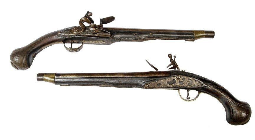 "Dueling Pistol Pair-Probably Turkish, 12"" barrel,"