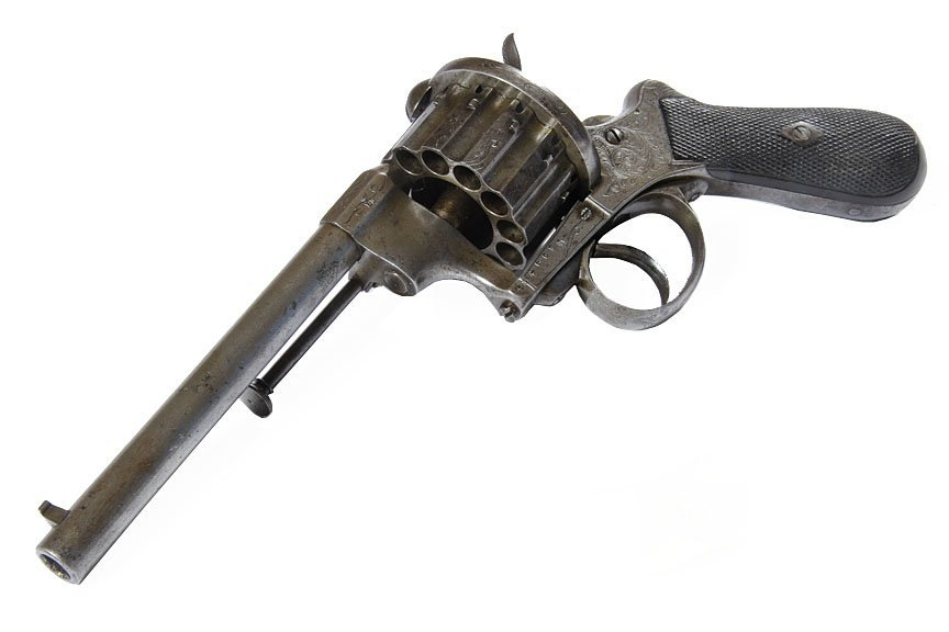 French ? 12 Shot Revolver- Signed E.L. with nice