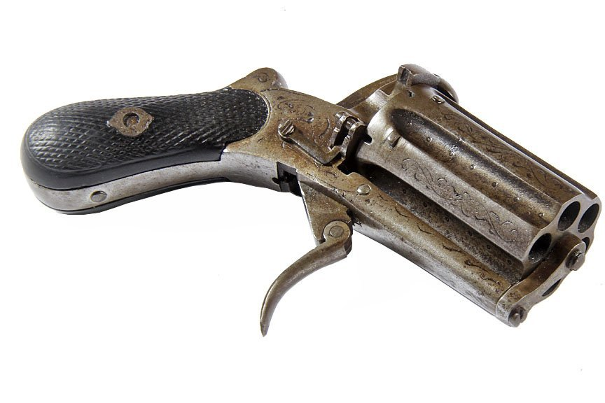 Pepperbox Pinfire- No barrel, shoots from the cylinder,