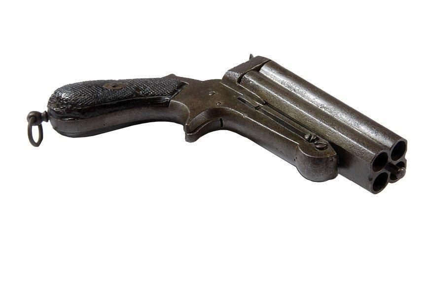 "Four Barrel European Pistol-Rimfire, approx 44 cal, 4"""