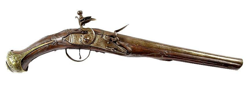 """Middle Eastern Flintlock Pistol- Approx 60 cal, 11"""""""