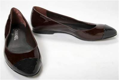 Chanel-Maroon patent leather slip on with black patents