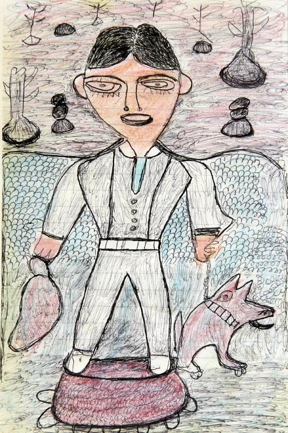 Outsider Art - Emitte Hych-Portrait-Ink and crayon on