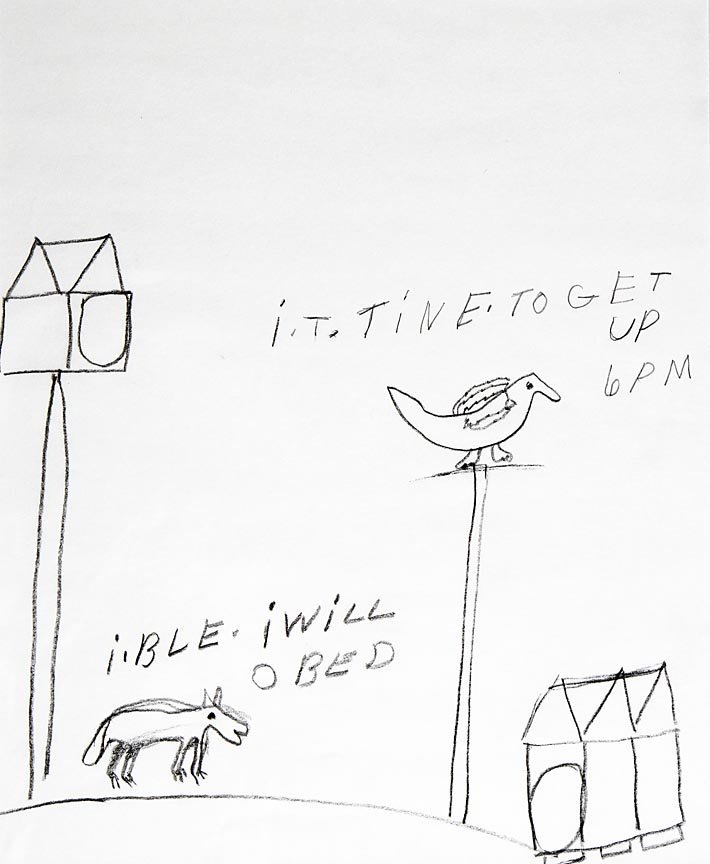 Outsider Art - Willie Jinks-It Time To Get Up-Pencil
