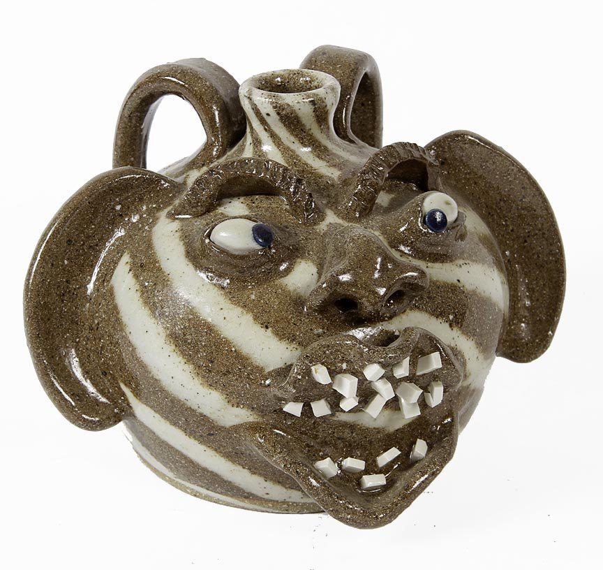 """Outsider Art - Charlie Lisk-Swirl face jug- 6"""" high"""