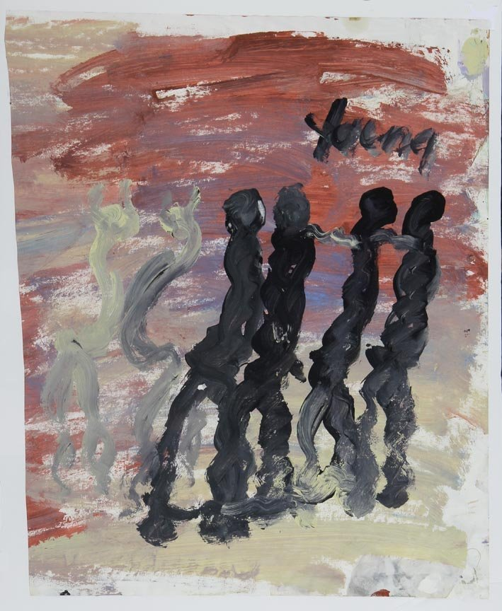 Outsider Art - Purvis Young-Abstract Figures-Paint on