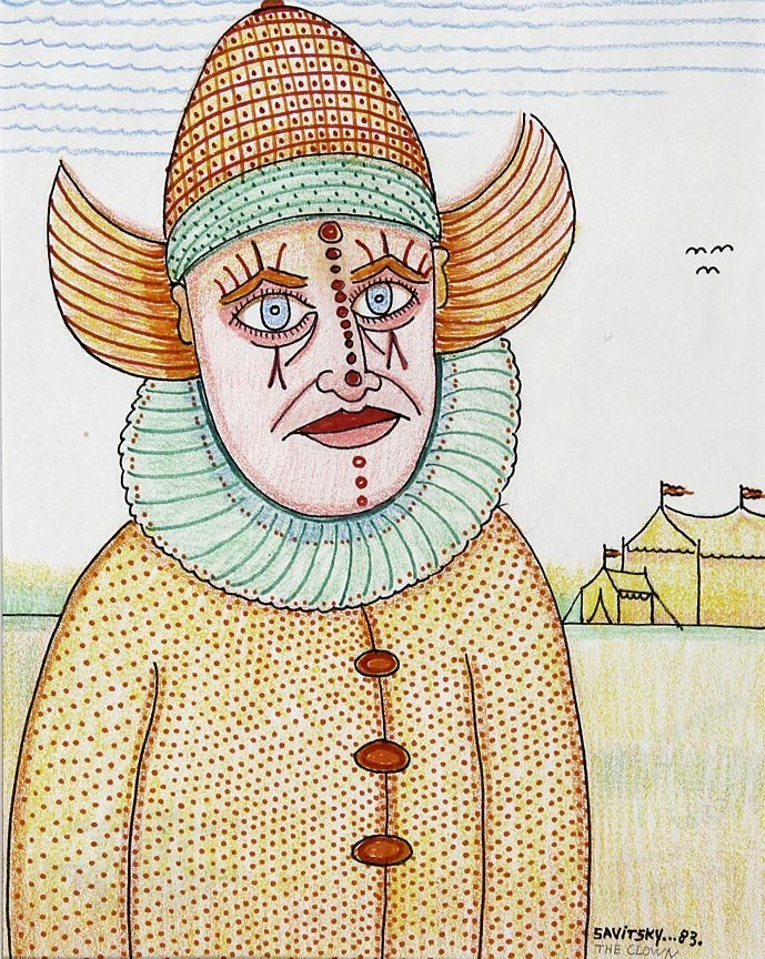 Outsider Art - Jack Savitsky-The Clown-Pencil and
