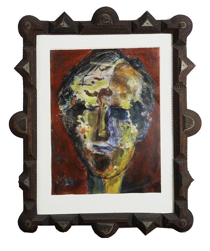 Outsider Art - Harriet Wiseman-Male Portrait-Oil on