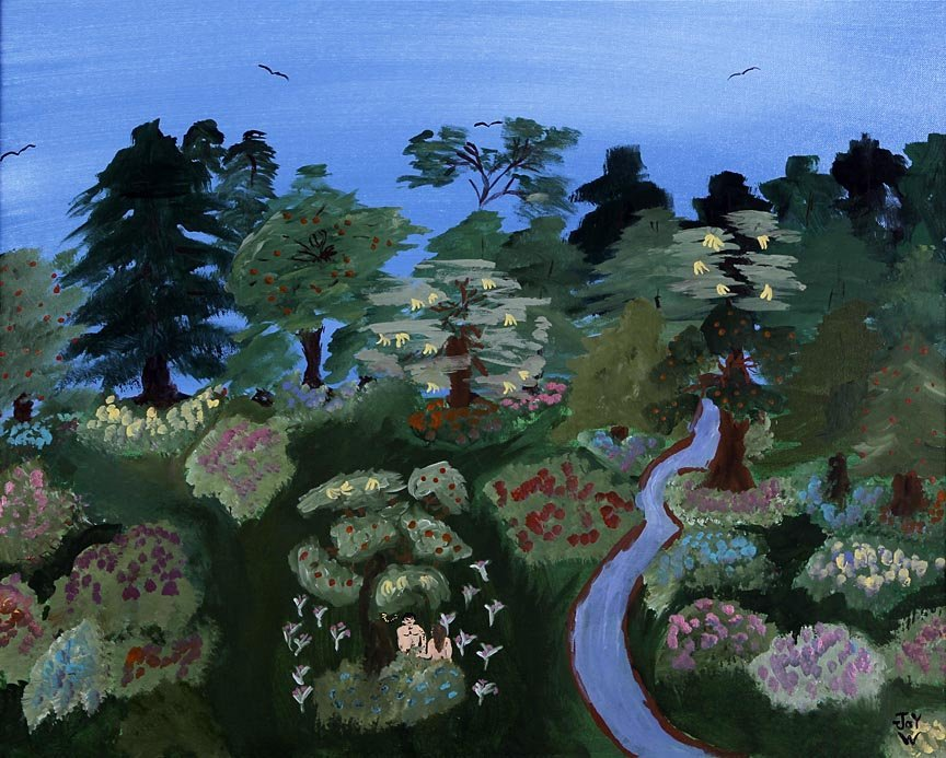 Outsider Art - Joy Williams-Adam and Eve-Acrylic on