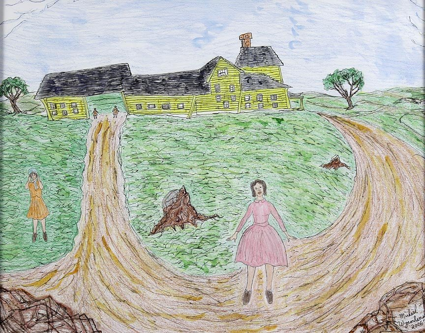 Outsider Art - Michael Wysochansky-The Long House-Mixed