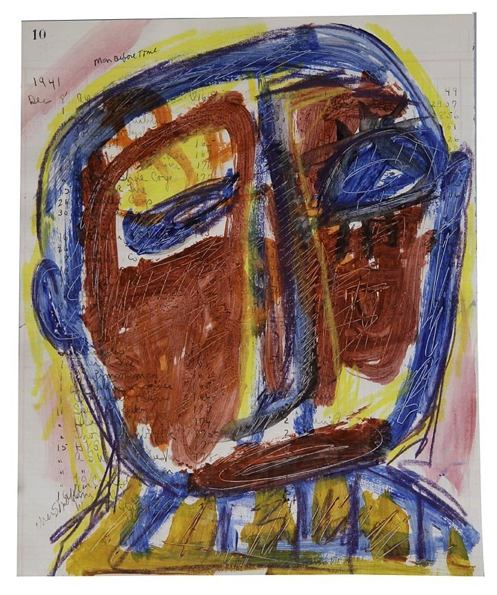 Outsider Art - Cher Shaffer-Face-, 9 x 12