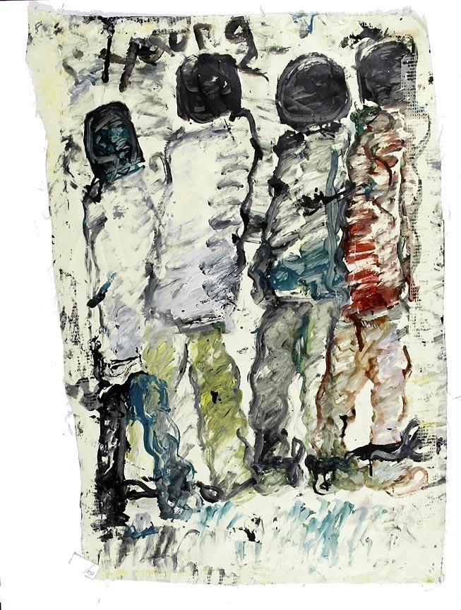 Outsider Art - Purvis Young-Untitled-Paint on thin