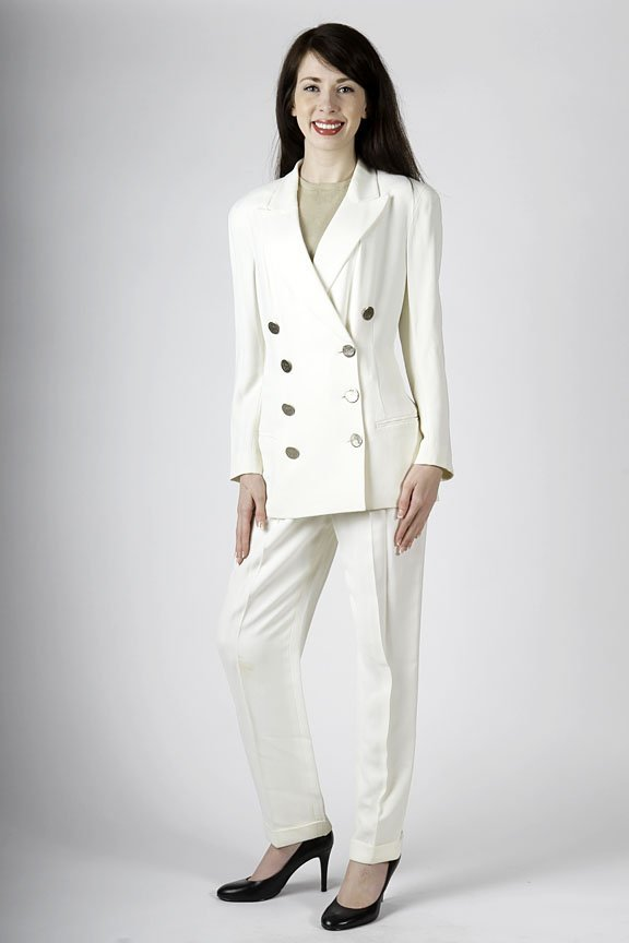Donna Karan microfiber off white pants and jacket size