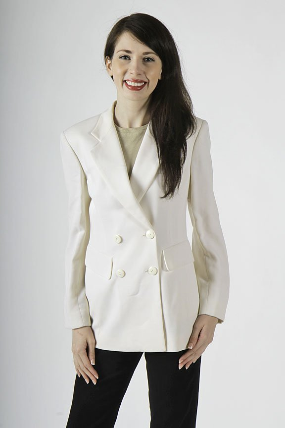 Donnal Karan white double breasted wool blazer size 2