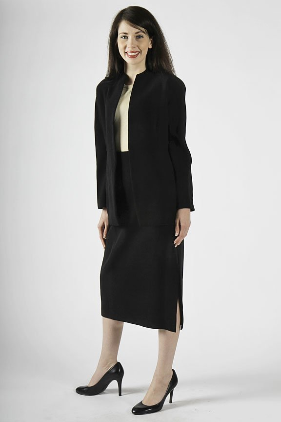 Donna Karan black wool suit size 4 with flakes