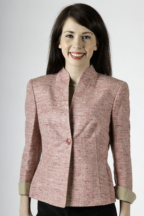 Akris pink cotton silk blend jacket size 6