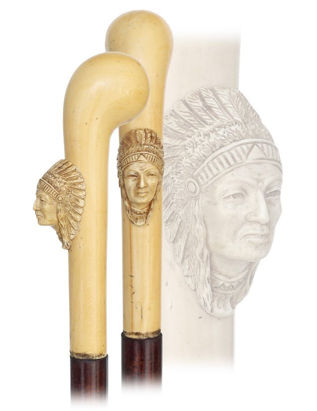 11. Spectacular Ivory Native American Indian Cane-Ca.