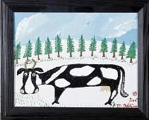 "Outsider/Folk Art-Minnie Adkins ""Cow"". Paint on canvas"