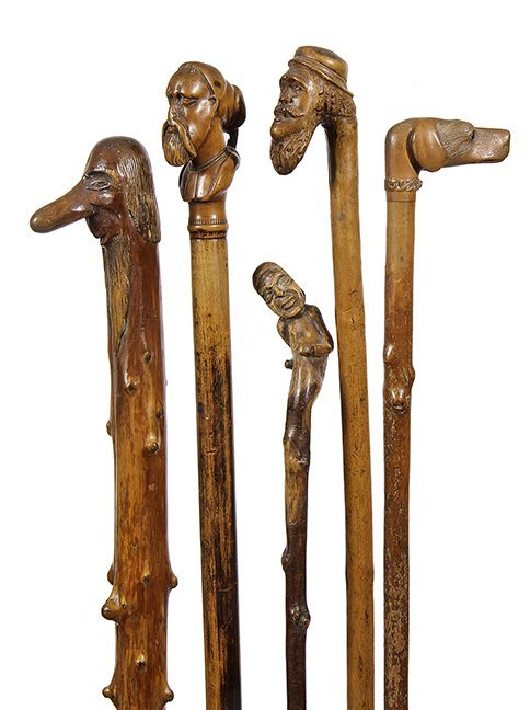 1. Five Fine Folk-Art Canes- Mid to late 19th Century-