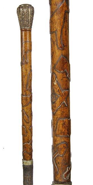 3. Native American Folk Cane- Ca. 1880- A native carved