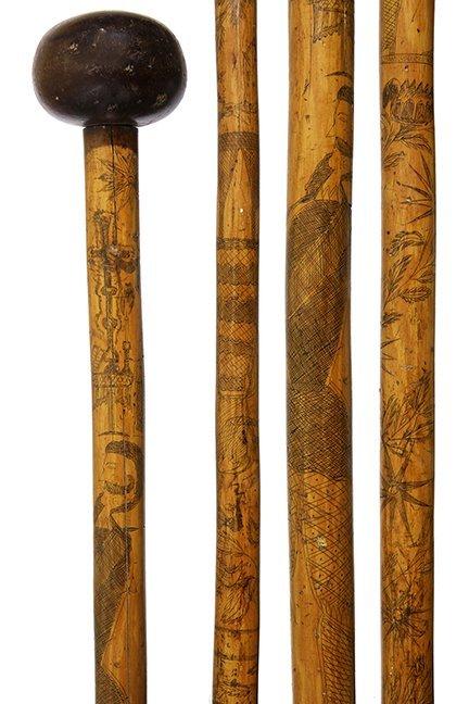 8. Folk-Art English Cane- Mid 19th Century- A great