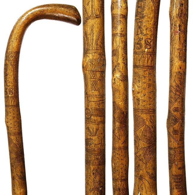 13. English Folk-Art Cane- Dated 1858- A one piece