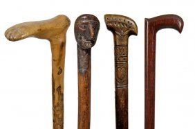 15. Group Of Four Folk-art Canes- Ca. 1880- Various