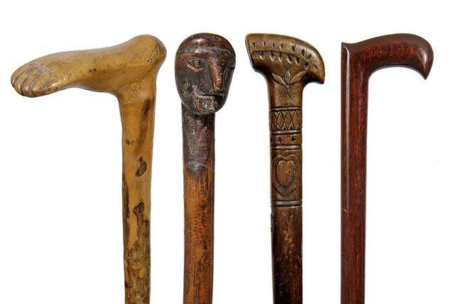 15. Group of Four Folk-Art Canes- Ca. 1880- Various