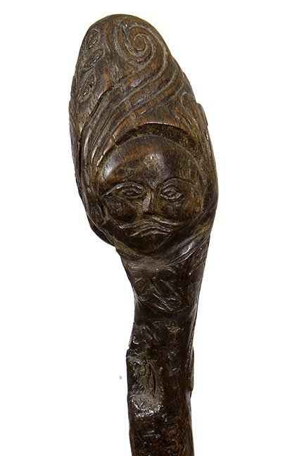 17. African-American Folk-Art Cane- Ca. 1840- One piece