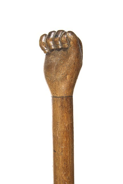 22. Folk-Art Child's Cane- Ca. 1860- A carved fist with