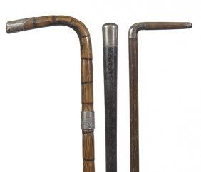 57. Three Silver Dress Canes- Ca. 1900- Average Length-