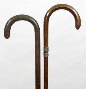 81. Two Antique Crutch Handle Canes- Ca. 1920- Average