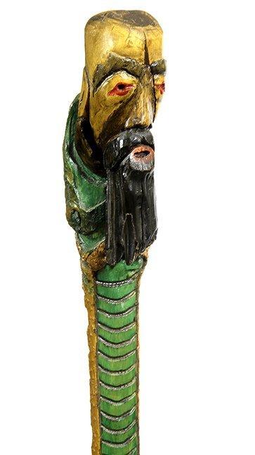 4. Johnny Winter Cane-20thCentury- A Carved folk art