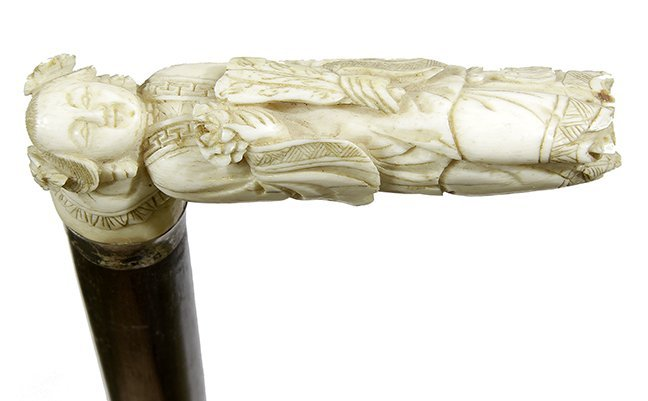13. Johnny Winter Chinese Cane-Ca. 1880- A carved bone