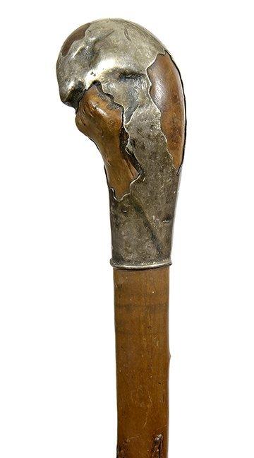 17. Johnny Winter Silver Folk Cane-Ca. 1830- An