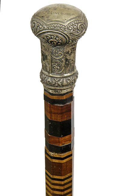 21. Johnny Winter Dress Cane-Ca. 1900- A large signed