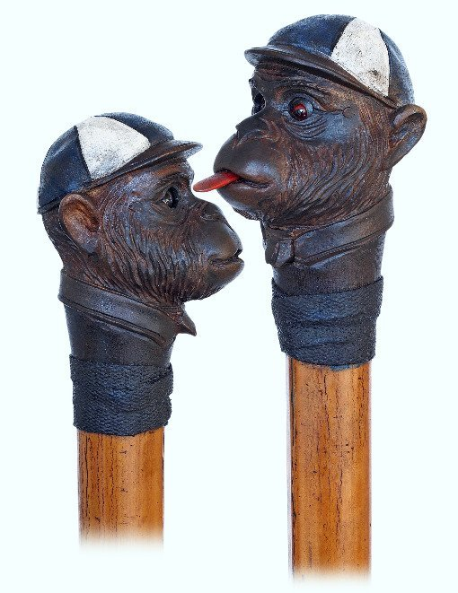 5. Automated Monkey-Jockey head Cane-Ca. 1900-Fruitwood