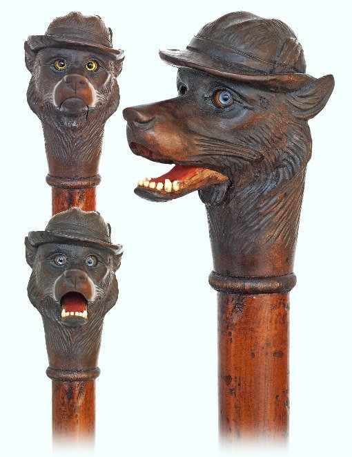 8. Automated Fox head Cane-Ca. 1900-Fruitwood handle