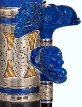 9. Lapis Lazuli Lion Dress Cane-ca. 1900-substantial