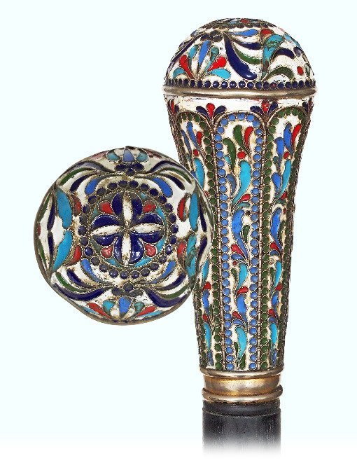 23. Silver Cloisonné Enamel Bishop Staff-Ca. 1900-Huge